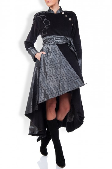 Palton negru din bumbac si tafta cu buline