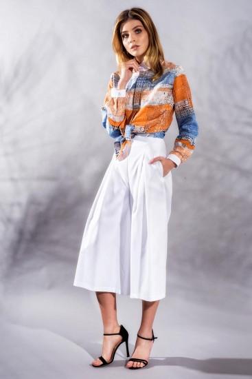 Pantaloni culottes din bumbac alb