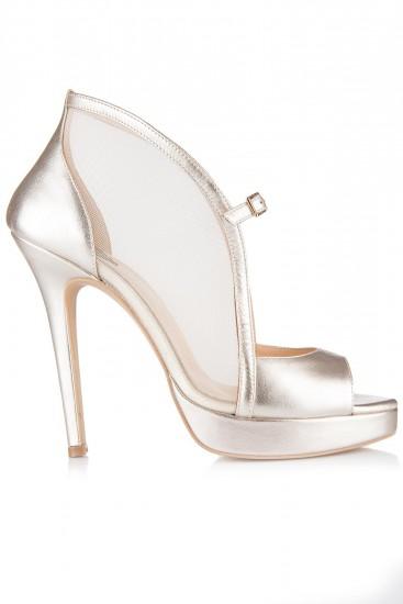 Sandale cu platforma piele aurie