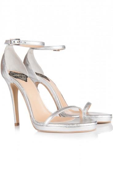 Sandale cu platforma si toc piele argintie