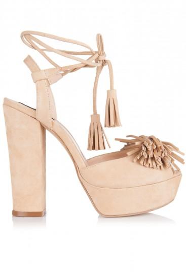 Sandale cu toc gros si platforma piele nude