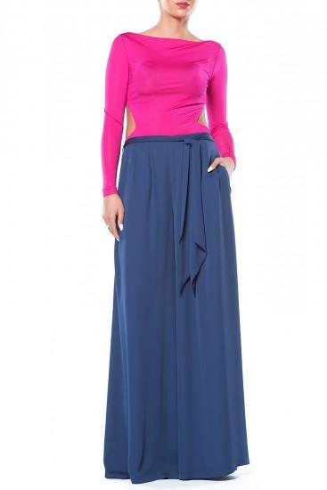 Pantaloni lungi si largi din voal albastru