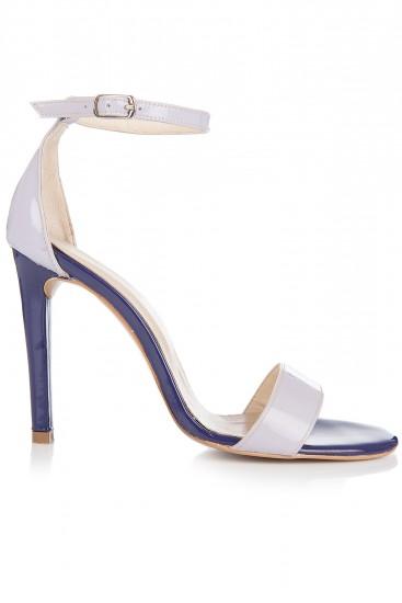 Sandale cu toc piele lacuita lila si mov