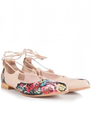 Balerini piele crem cu pictura realizata manual Trandafiri romanesti