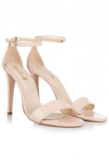 Sandale cu toc piele nude lacuita