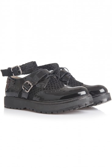 Pantofi oxford piele neagra lacuita si piele tip ponei