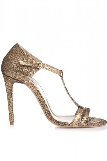 Sandale cu toc piele aurie glitter