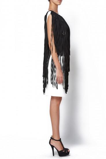 Rochie alba midi cu franjuri negre
