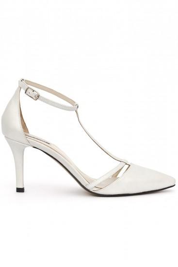Pantofi cu toc piele argintiu deschis