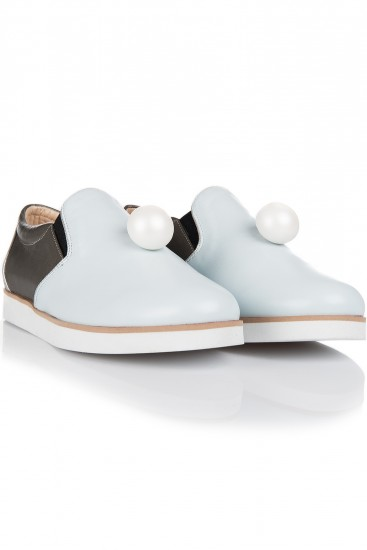 Pantofi cu talpa groasa piele naturala si perla