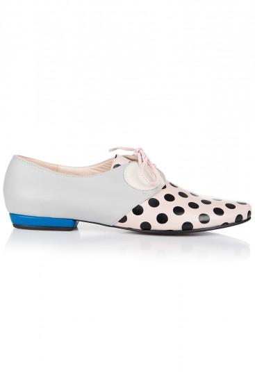 Pantofi fara toc piele cu buline