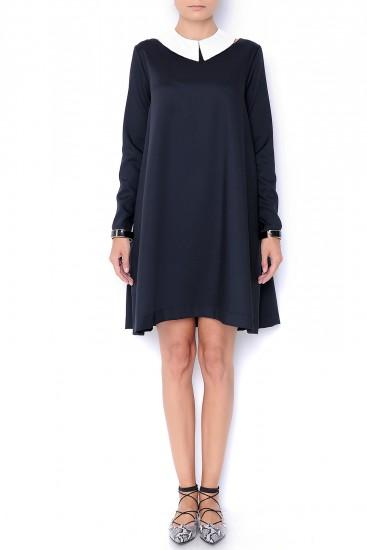 Rochie midi din stofa neagra cu guler alb