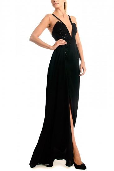 Rochie neagra de seara cu decolteu adanc si slit lateral