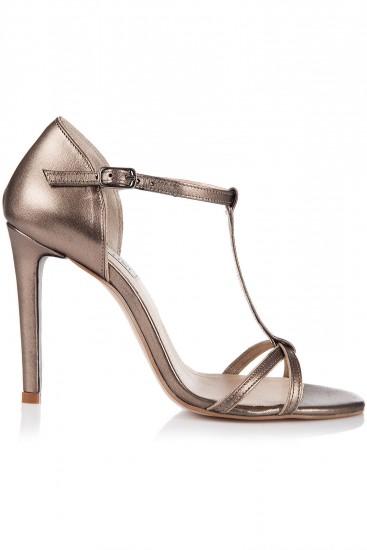 Sandale cu toc si barete subtiri piele bronz auriu
