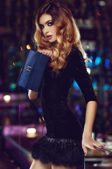 Clutch piele naturala albastru imperial Nicole