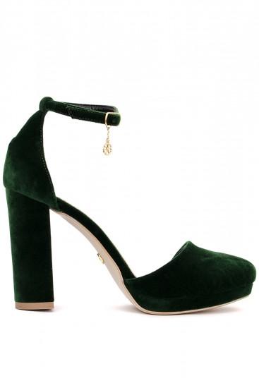 Pantofi din catifea verde cu toc gros si platforma