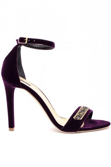 Sandale din catifea cu toc subtire