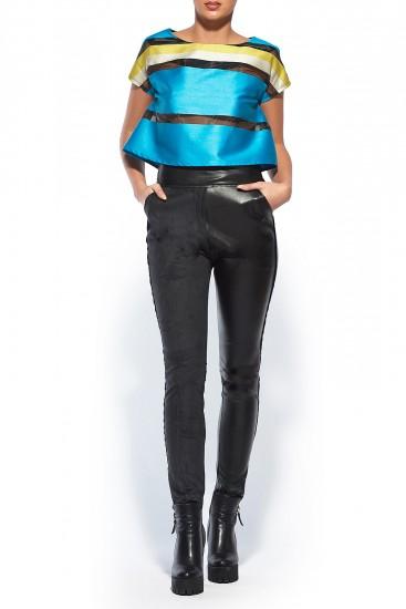 Pantaloni negri cu talie inalta piele ecologica