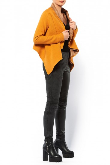 Jacheta din lana mustar croiala asimetrica