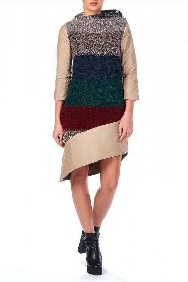 Rochie midi din lana cu dungi