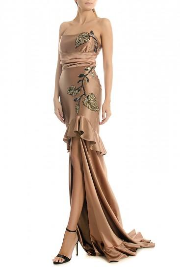 Rochie cu corset din matase cu paiete