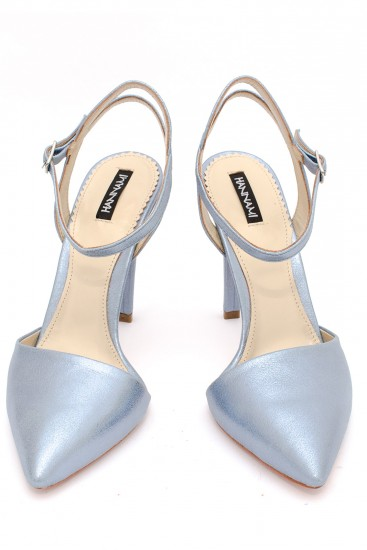 Pantofi cu toc piele sidefata bleu