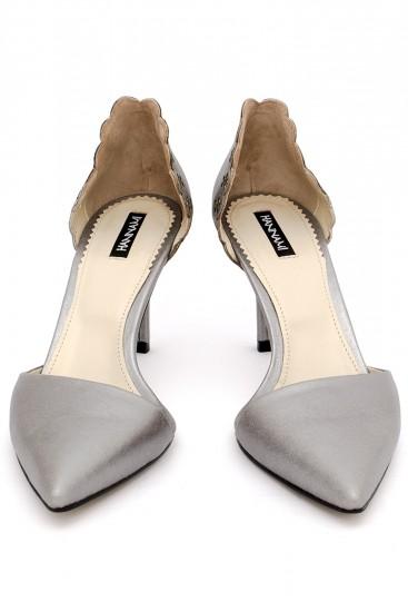 Pantofi cu toc piele sidefata argintie