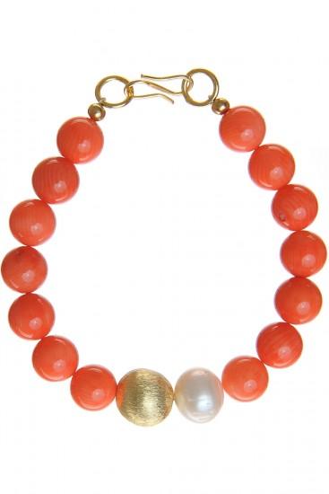 Bratara perle albe si coral