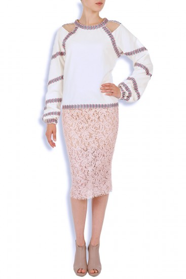 Bluza ie din bumbac si insertie tulle