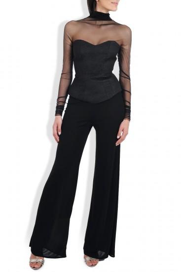Compleu negru cu top brocart si tulle si pantaloni