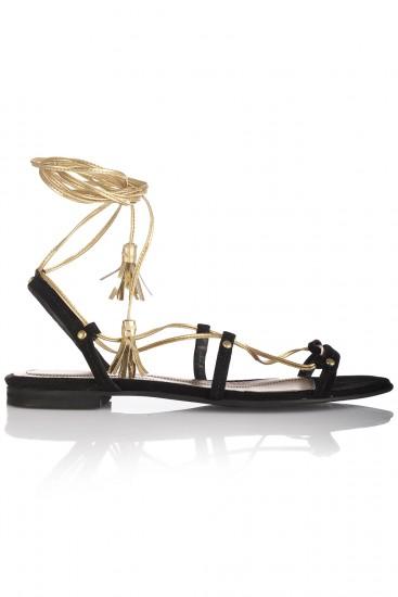 Sandale romane piele neagra si aurie