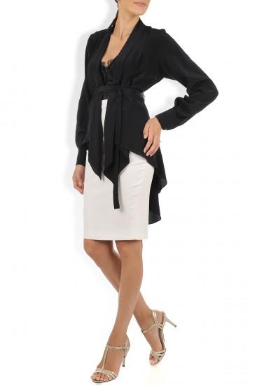 Bluza blazer neagra cu cordon si croi asimetric
