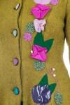 Palton lana vernil cu gluga si aplicatii manuale