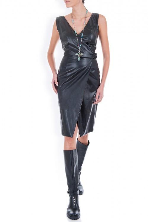 Rochie piele neagra cu cordon impletit