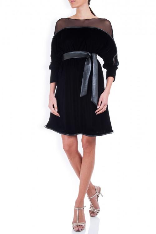 Rochie catifea neagra cu tulle si piele neagra