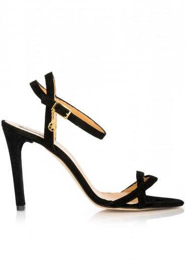 Sandale negre cu barete subtiri