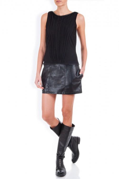 Rochie scurta din piele si tulle negru