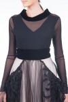 Bluza tulle negru cu guler din catifea