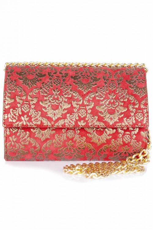 Plic piele rosie cu print auriu