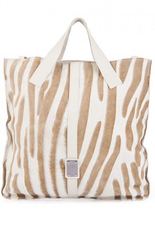 Geanta din piele naturala Zebra