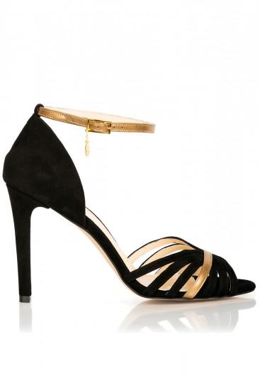 Sandale cu barete subtiri piele neagra si bronz