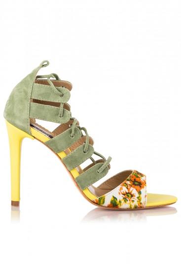 Sandale gladiator piele verde si print floral