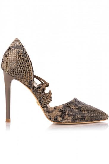 Pantofi cu toc piele model sarpe