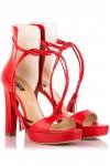 Sandale cu platforma si toc gros din piele rosie