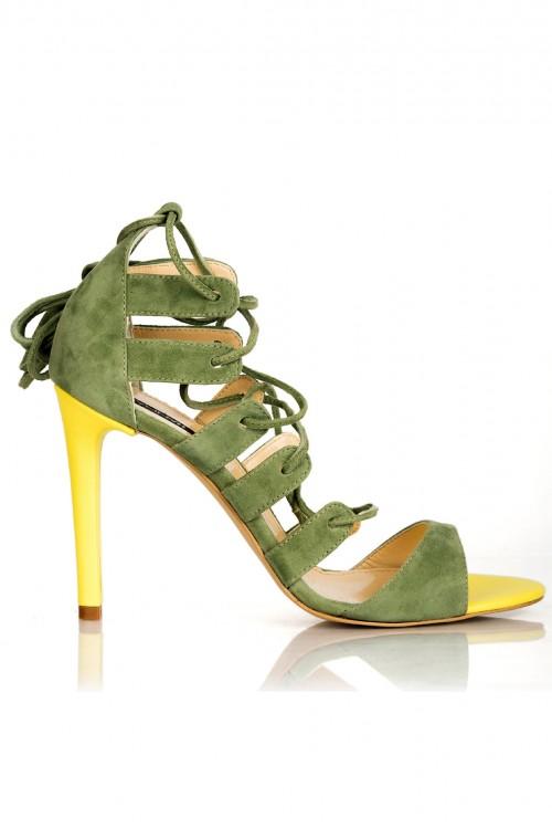 Sandale cu toc tip gladiator piele verde