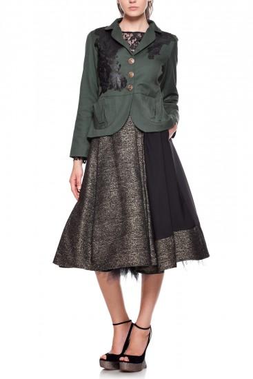 Jacheta din stofa verde si dantela neagra