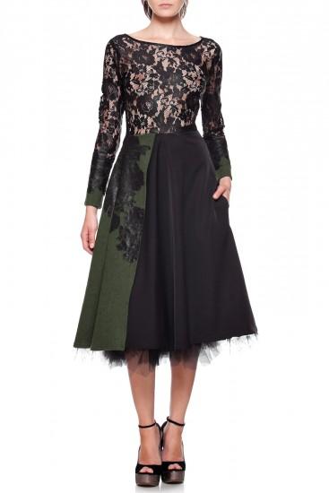 Rochie din stofa verde, vascoza si dantela neagra