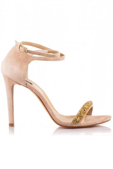 Sandale cu toc piele bej cu cristale aurii