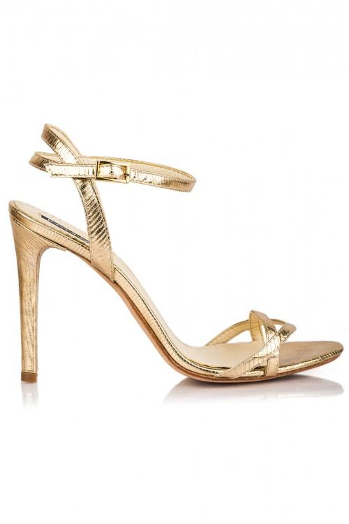 Sandale cu toc din piele aurie