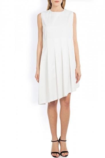 Rochie alba cu pliuri asimetrice